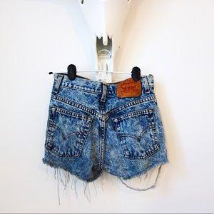 Acid Wash Levi's Distressed Denim Shorts